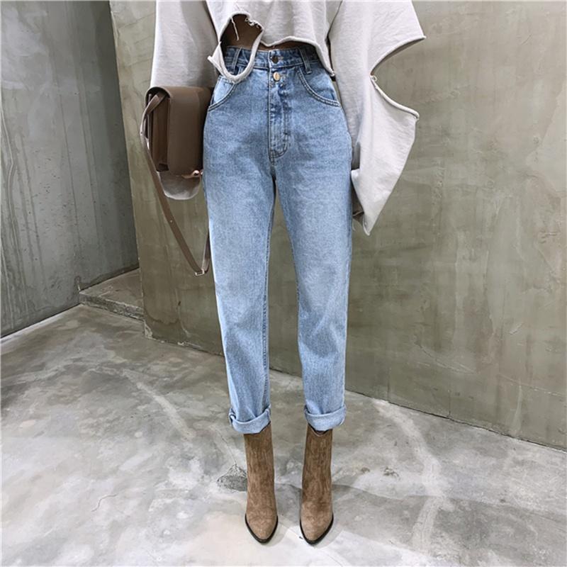 レディースファッション ジーンズウーマンカジュアルハーレムジーンズストリートデニムパンツトラウザーズルーキージーンズファム Jeans
