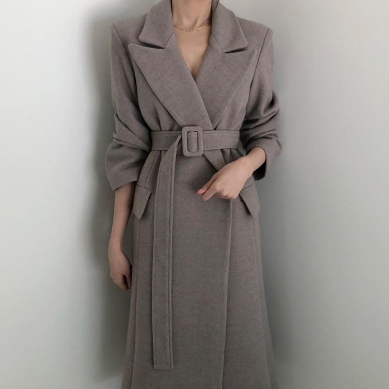 レディースファッション ファッションソリッドレディースロングウールコートオフィスレディスリムレディースウールジャケットベルトコー